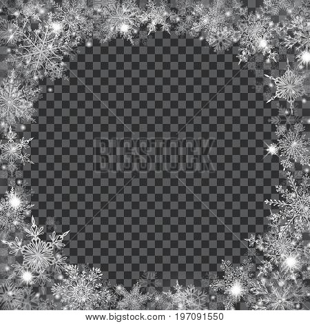 Christmas Background With Frame Of Translucent Snowflakes