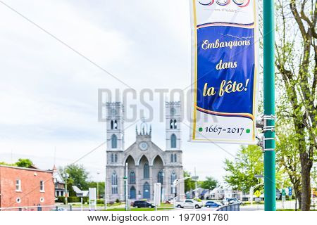 Sainte-anne-de-la-perade, Canada - May 29, 2017: Parish Of Sainte Anne De La Perade And Banner Sign