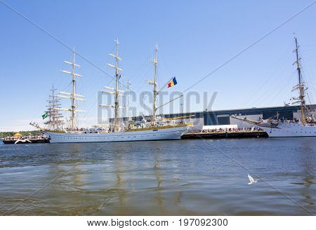 The Tall Ships Races Kotka 2017. Kotka, Finland 16.07.2017. Ship Mircea In The Port Of Kotka, Finlan