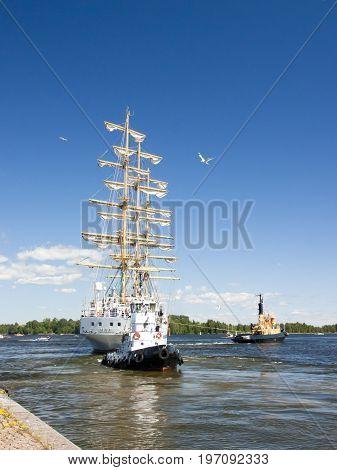 The Tall Ships Races Kotka 2017. Kotka, Finland 16.07.2017. Ship Mir Is Leaving The Port Of Kotka, F