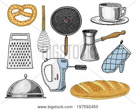 Grater and whisk, frying pan, Turk for coffee, cup of tea, mixer and baked loaf. Chef and kitchen utensils, cooking stuff for menu decoration. engraved hand drawn in old sketch and vintage style
