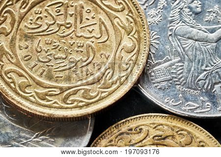 Close Up Picture Of Tunisian Dinars.