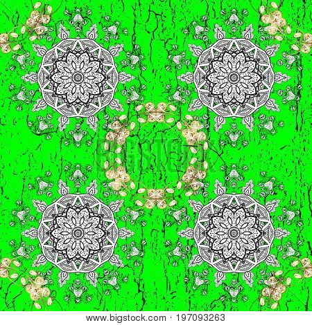 Classic vector white pattern. Floral ornament brocade textile pattern glass metal with floral pattern on green and white background with white elements.