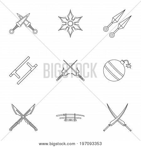 Ninja equipment icons set. Outline set of 9 ninja equipment vector icons for web isolated on white background