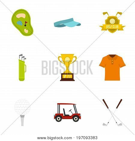 Championship golf icons set. Flat set of 9 championship golf vector icons for web isolated on white background