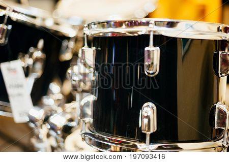 Detail of vintage drums in garage band