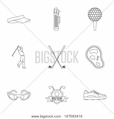 Championship golf icons set. Outline set of 9 championship golf vector icons for web isolated on white background