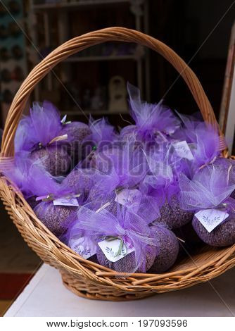 Pouchs with lavender inside a wicker basket
