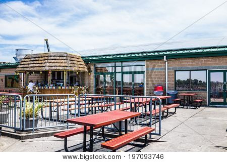 Bronx, Usa - June 11, 2017: City Island Restaurant With Outdoors Outside Picnic Tables Seating Area