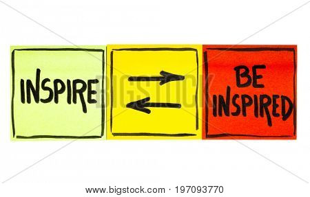 inspire and be inspired concept - handwriting in black ink on an isolated sticky note