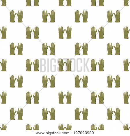 Khaki colored gloves pattern seamless repeat in cartoon style vector illustration
