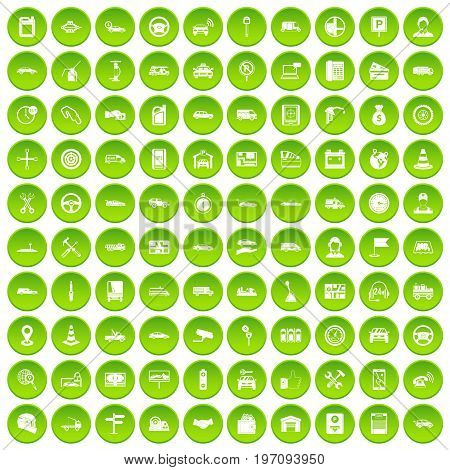 100 auto icons set in green circle isolated on white vectr illustration