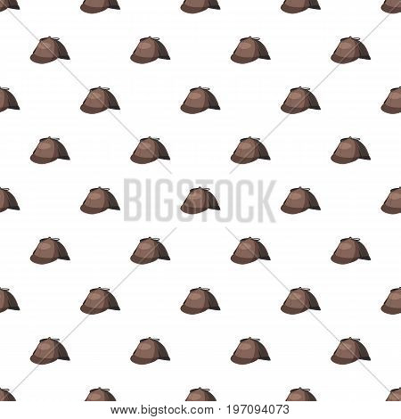 Detective Sherlock Holmes hat pattern seamless repeat in cartoon style vector illustration