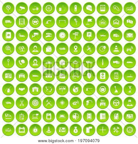 100 auto service icons set in green circle isolated on white vectr illustration
