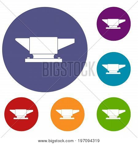 Anvil icons set in flat circle red, blue and green color for web
