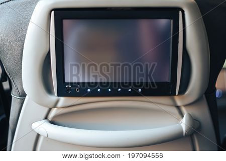 Long-distance international bus of the raised comfort with built in seat chair, a TV or a tablet where they can watch movies during road and listen to music, surf the Internet