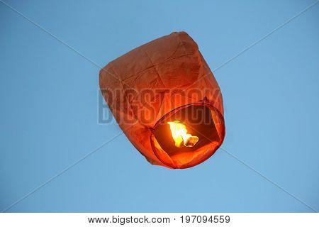 flying in the sky fire paper lantern