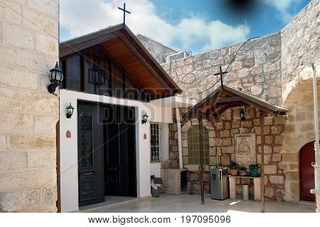 RAMLA ISRAEL - JULY 22 2017: Patio of the Greek monastery of St. George the Victorious in Ramla