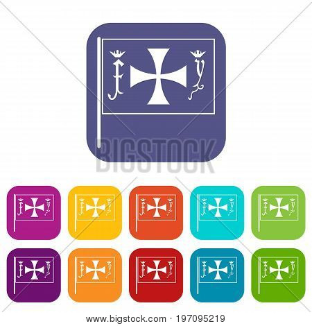 Flag of Columbus icons set vector illustration in flat style in colors red, blue, green, and other