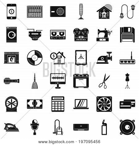 Home appliance icons set. Simple style of 36 home appliance vector icons for web isolated on white background