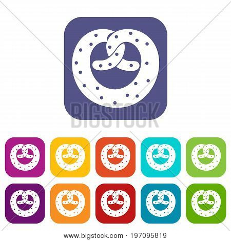 Pretzels icons set vector illustration in flat style in colors red, blue, green, and other