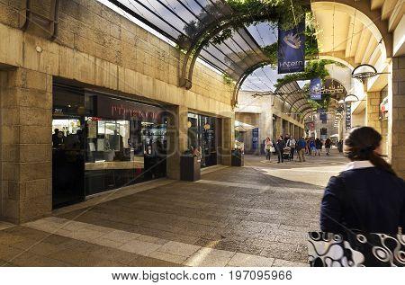 Jerusalem Israel - May 05 2017: Mamilla Mall Alrov Mamilla Avenue shopping street open-air mall in Jerusalem Israel on October 3 2016