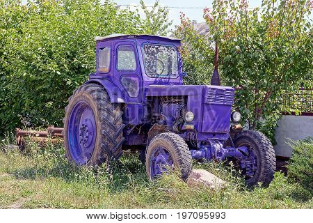 Lilac old tractor stands in the yard in the grass