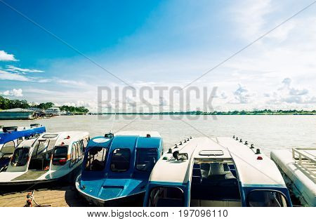 view on boat pier by Amazonas river in Brazil