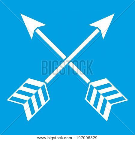 Arrows LGBT icon white isolated on blue background vector illustration