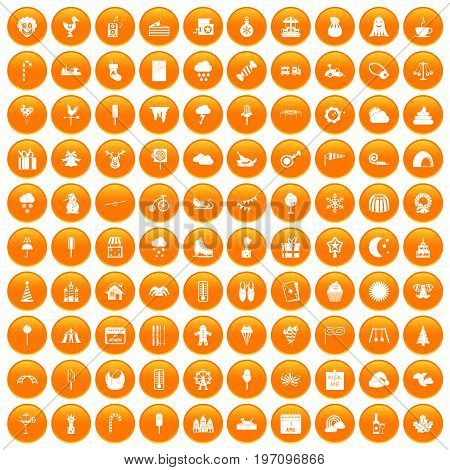 100 childrens parties icons set in orange circle isolated on white vector illustration