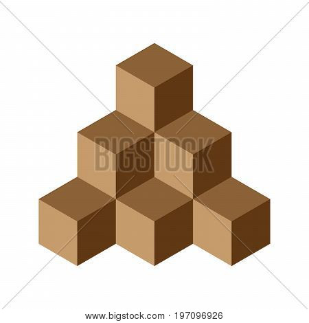 Pyramid of brown chocolate cubes. 3D vector illustration isolated on white background.