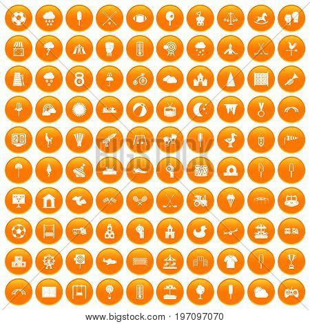 100 childrens playground icons set in orange circle isolated on white vector illustration