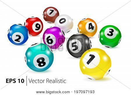 Vector Colorful Bingo balls lie in random order. Lottery Number Balls. Colored balls isolated. Bingo ball. Bingo balls with numbers. Realistic vector. Vector isolated illustration.