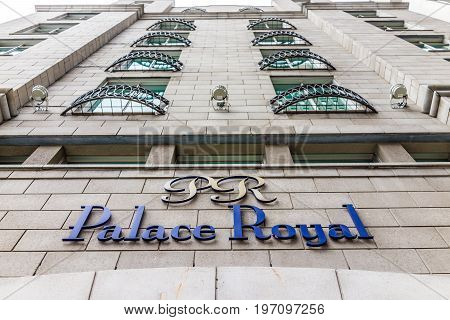 Quebec City, Canada - May 29, 2017: Hotel Palace Royal Blue Sign And Building Closeup In Old Town