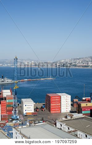 VALPARAISO CHILE 24 JANUARY 2016: view to the city port with numerous containers
