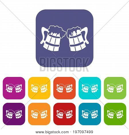 Wooden beer mugs icons set vector illustration in flat style in colors red, blue, green, and other