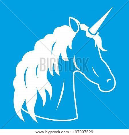 Unicorn icon white isolated on blue background vector illustration
