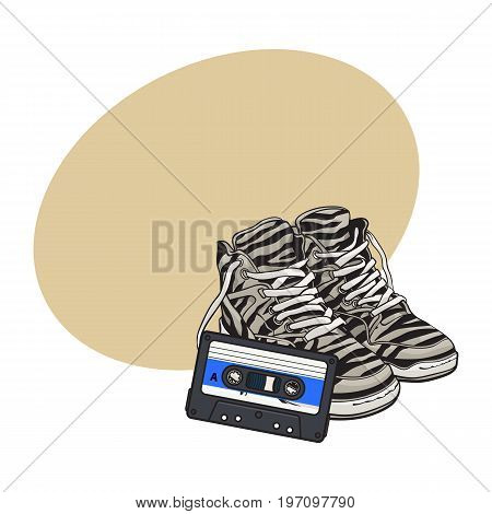 Pair of zebra sneakers and audio tape from 90s, retro style disco attributes, sketch vector illustration with space for text. Retro style sneakers and magnetic audio tape from nineties