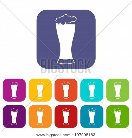 Glass of beer icons set vector illustration in flat style in colors red, blue, green, and other