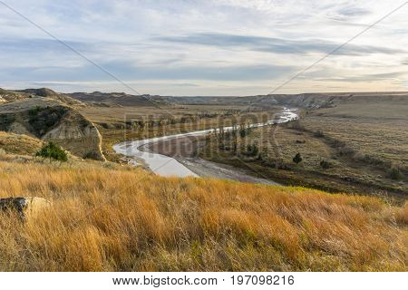 Looking down on the Little Missouri River from a bluff in Theodore Roosevelt National Park