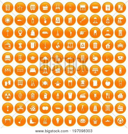 100 cleaning icons set in orange circle isolated on white vector illustration