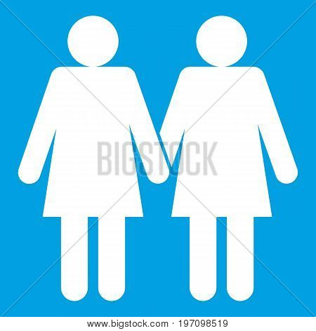 Two girls lesbians icon white isolated on blue background vector illustration