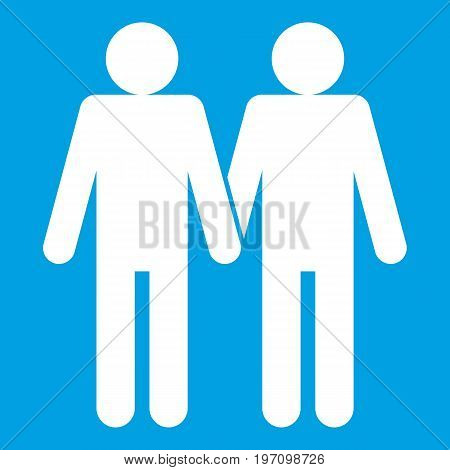 Two men gay icon white isolated on blue background vector illustration