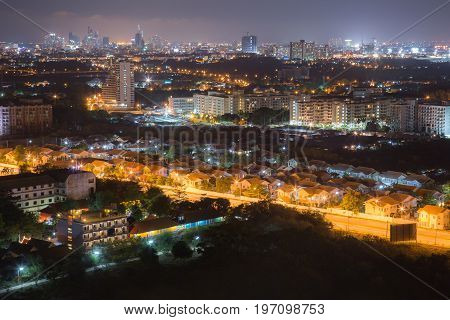Housing Estate The development of modern cityscape architecture in the cityscape of the city. Night view of the cityscape.