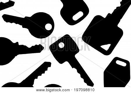 Key silhouette. Various backlit house security and household lock keys. Black shapes against white background.