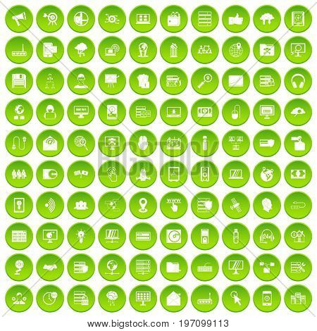 100 cyber security icons set in green circle isolated on white vectr illustration