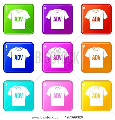 T-shirt with print ADV icons of 9 color set isolated vector illustration