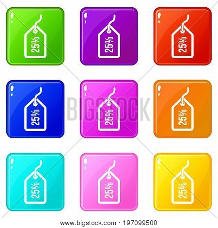 Tag with 25 discount icons of 9 color set isolated vector illustration
