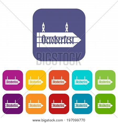 Sign octoberfest icons set vector illustration in flat style in colors red, blue, green, and other