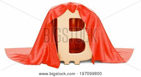 Bitcoin covered red cloth 3D rendering isolated on white background